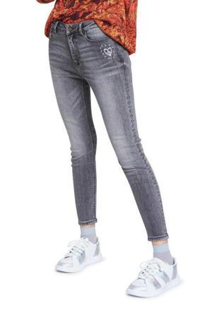 skinny jeans met printopdruk grijs washed denim