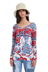 Desigual longsleeve met all over print rood/wit/blauw, Rood/wit/blauw