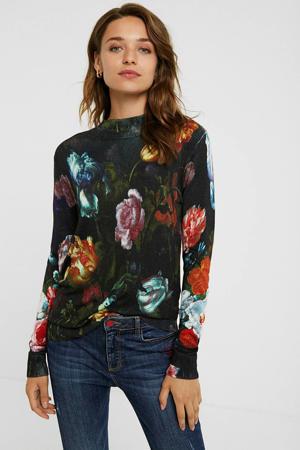 gebloemde fijngebreide trui zwart/rood/blauw
