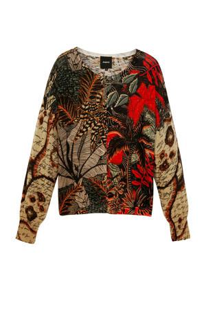 fijngebreide vest met all over print beige/rood/zwart