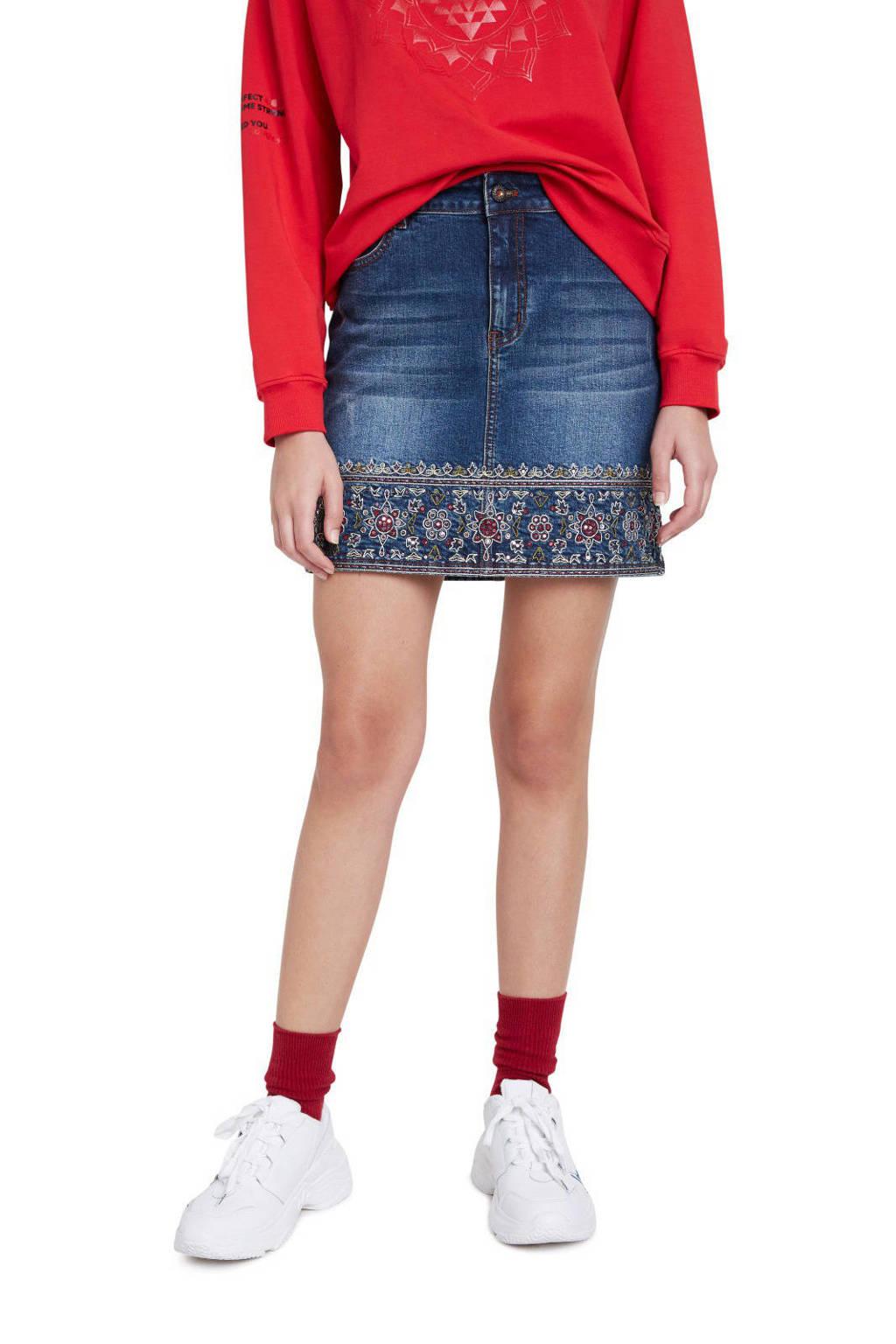 Desigual spijkerrok met borduursels, Dark denim/rood/groen