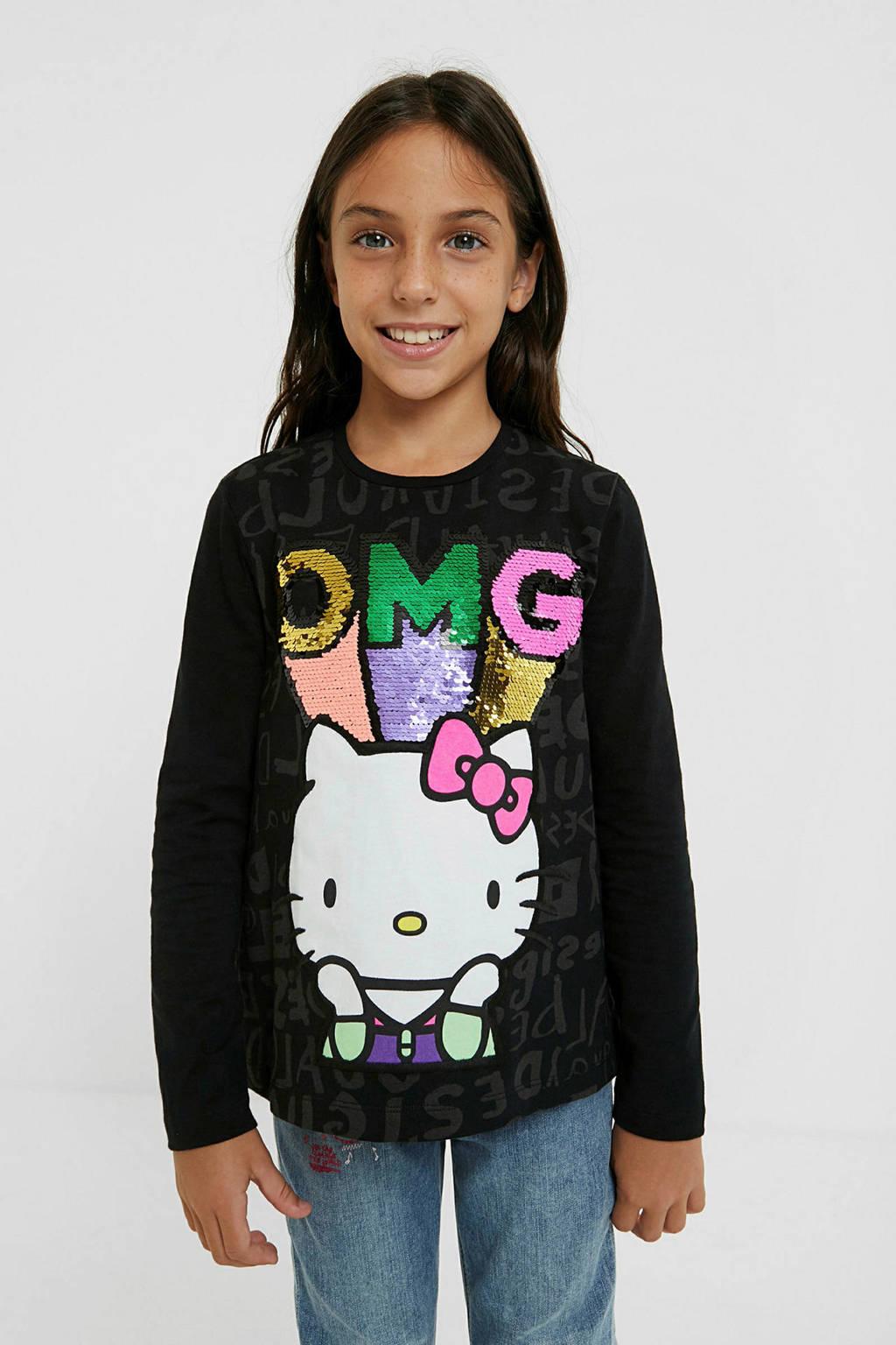 Desigual Hello Kitty longsleeve zwart, Zwart