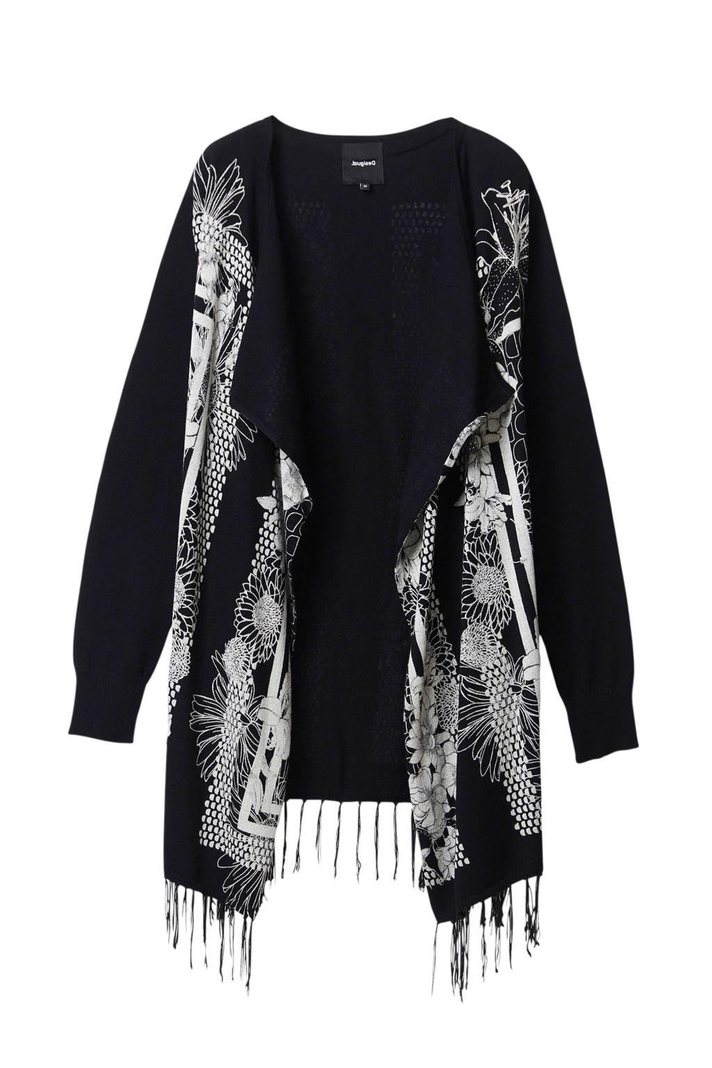 Desigual vest met all over print en franjes zwart, Zwart