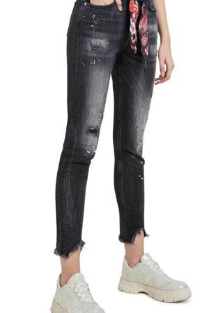 super skinny jeans zwart bleached/rood