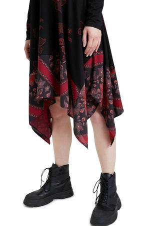 jurk met printopdruk zwart/rood