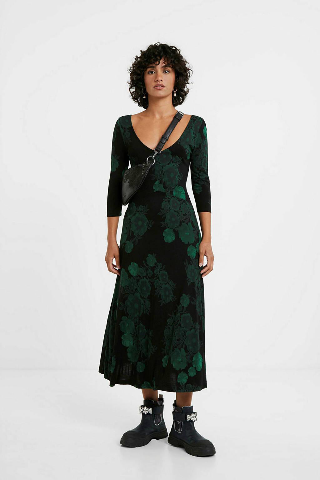 Desigual gebloemde maxi jurk zwartt/groen, Zwartt/groen
