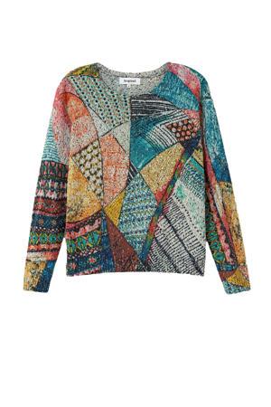 fijngebreide trui met all over print multi