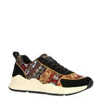 Desigual   sneakers met borduursels zwart, Zwart/multi