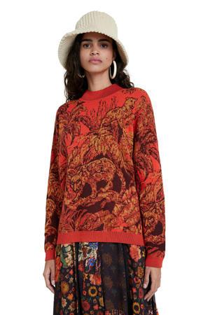 trui met printopdruk en borduursels rood/zwart/goud