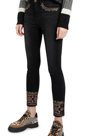 skinny jeans met borduursels zwart denim/goud/rood