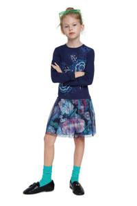 Desigual jurk met printopdruk en borduursels donkerblauw/mintgroen/roze, Donkerblauw/mintgroen/roze