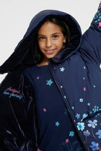 Desigual reversible winterjas met all over print blauw/roze/lichtblauw, Blauw/Roze/Lichtblauw
