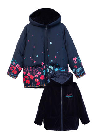 reversible winterjas met all over print blauw/roze/lichtblauw