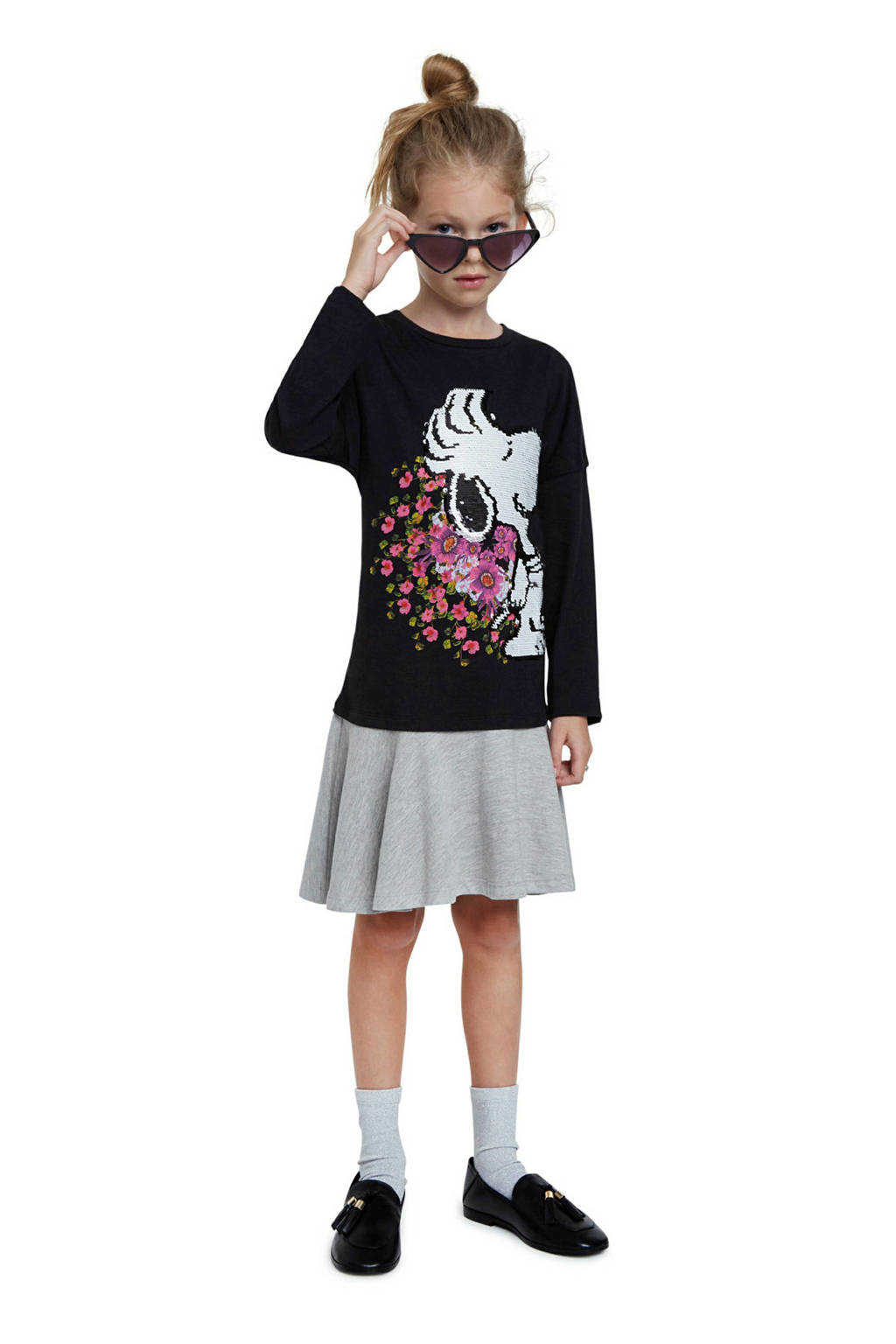 Desigual jurk met Snoopy en omkeerbare pailletten zwart/grijs, Zwart/grijs