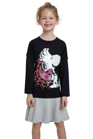 jurk met Snoopy en omkeerbare pailletten zwart/grijs