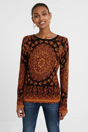 trui met all over print en textuur roodbruin/oranje/donkerblauw