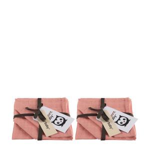 hydrofiel monddoekje uni- 2x set van 3 roze