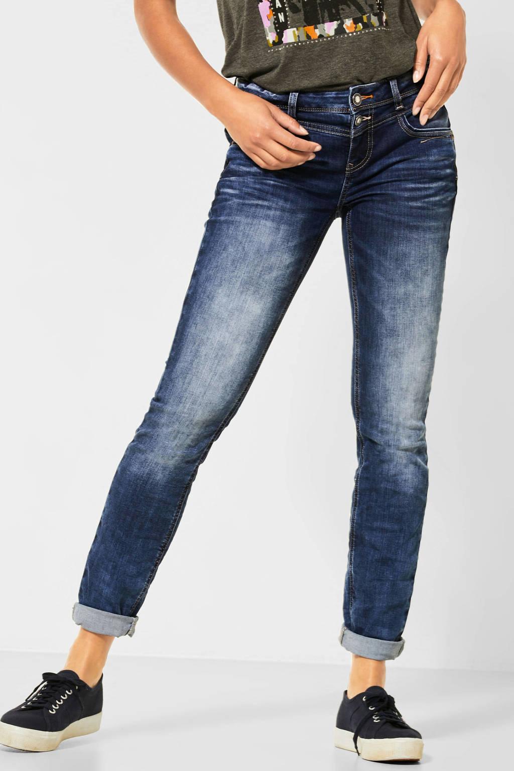 Street One low waist regular fit jeans Jane donkerblauw, Dark denim stonewashed