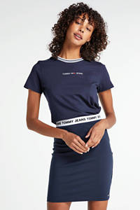 Tommy Jeans kokerrok met logo donkerblauw, Donkerblauw