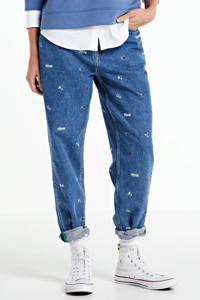 Tommy Jeans high waist mom jeans met logo en borduursels blauw, Blauw