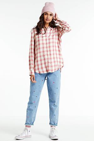 geruite blouse roze