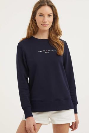 sweater van biologisch katoen dokerblauw/wit