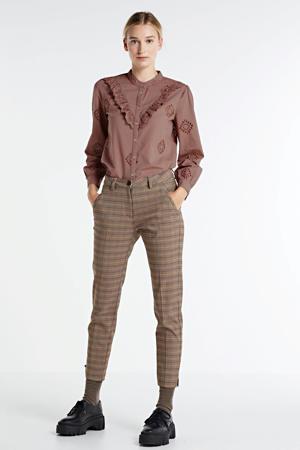 geruite skinny broek bruin