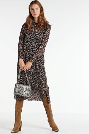 semi-transparante jurk Edelyn met all over print bruin/zwart
