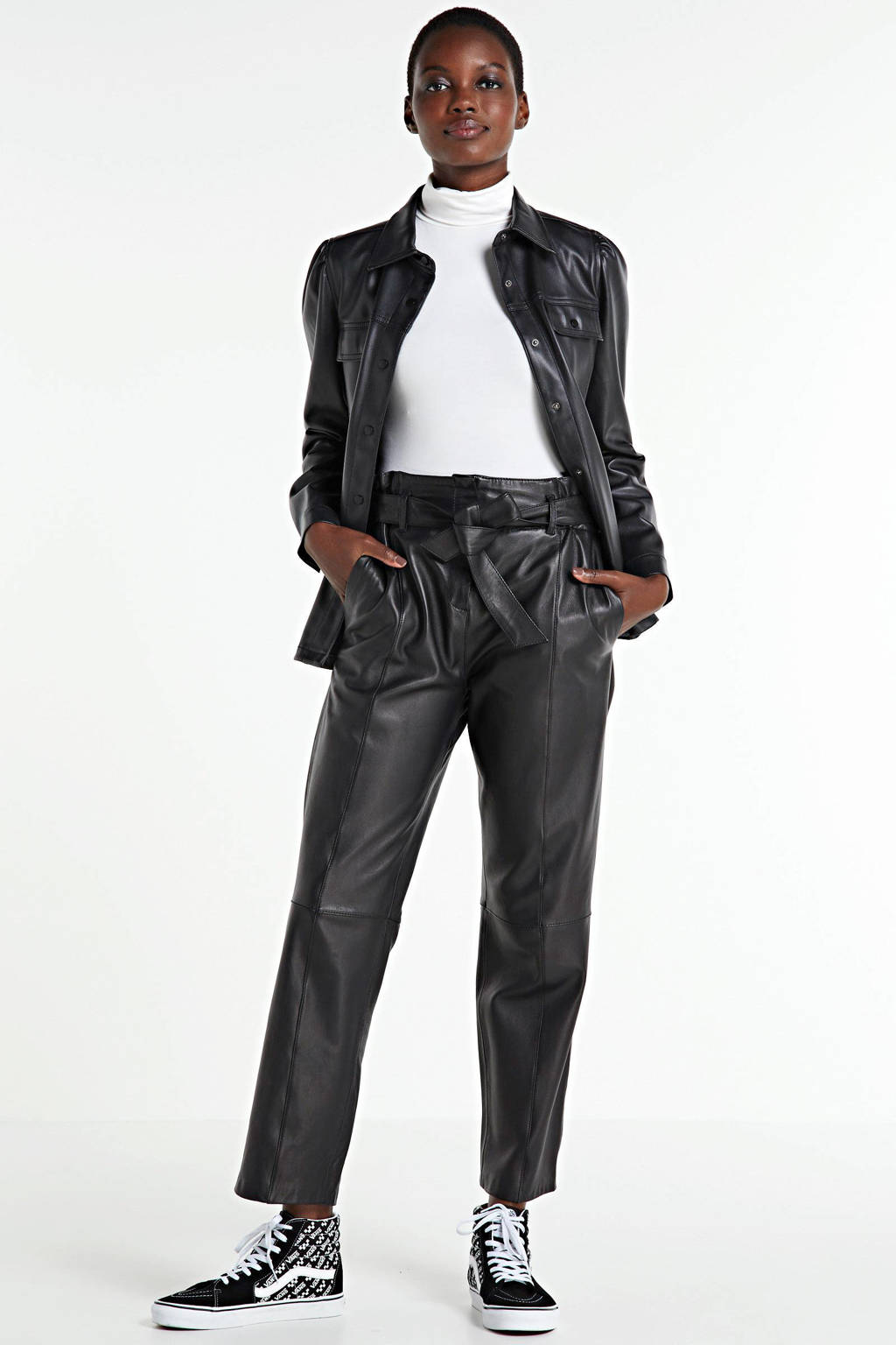 FREEQUENT imitatieleren blouse Harley zwart, Zwart