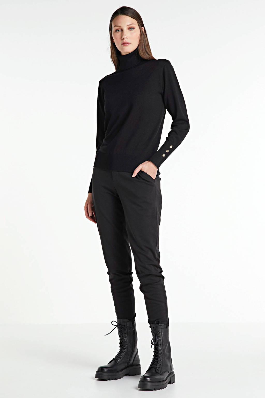 FREEQUENT high waist slim fit broek Nanni zwart, Zwart