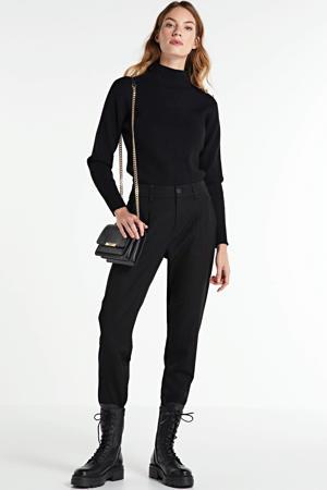 cropped high waist straight fit broek Laila zwart