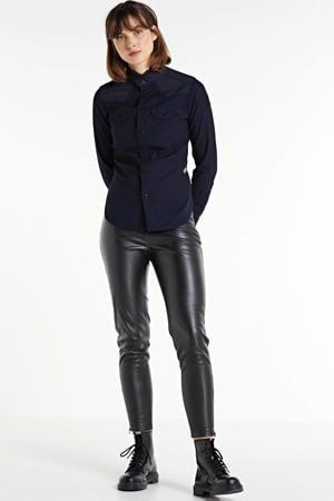 imitatieleren high waist slim fit broek Harley zwart