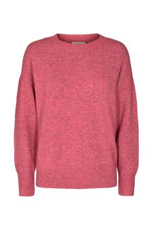 fijngebreide trui van gerecycled polyester framboos
