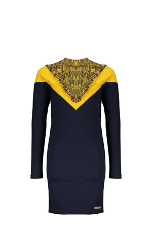 ribgebreide jurk Mikin met volant donkerblauw