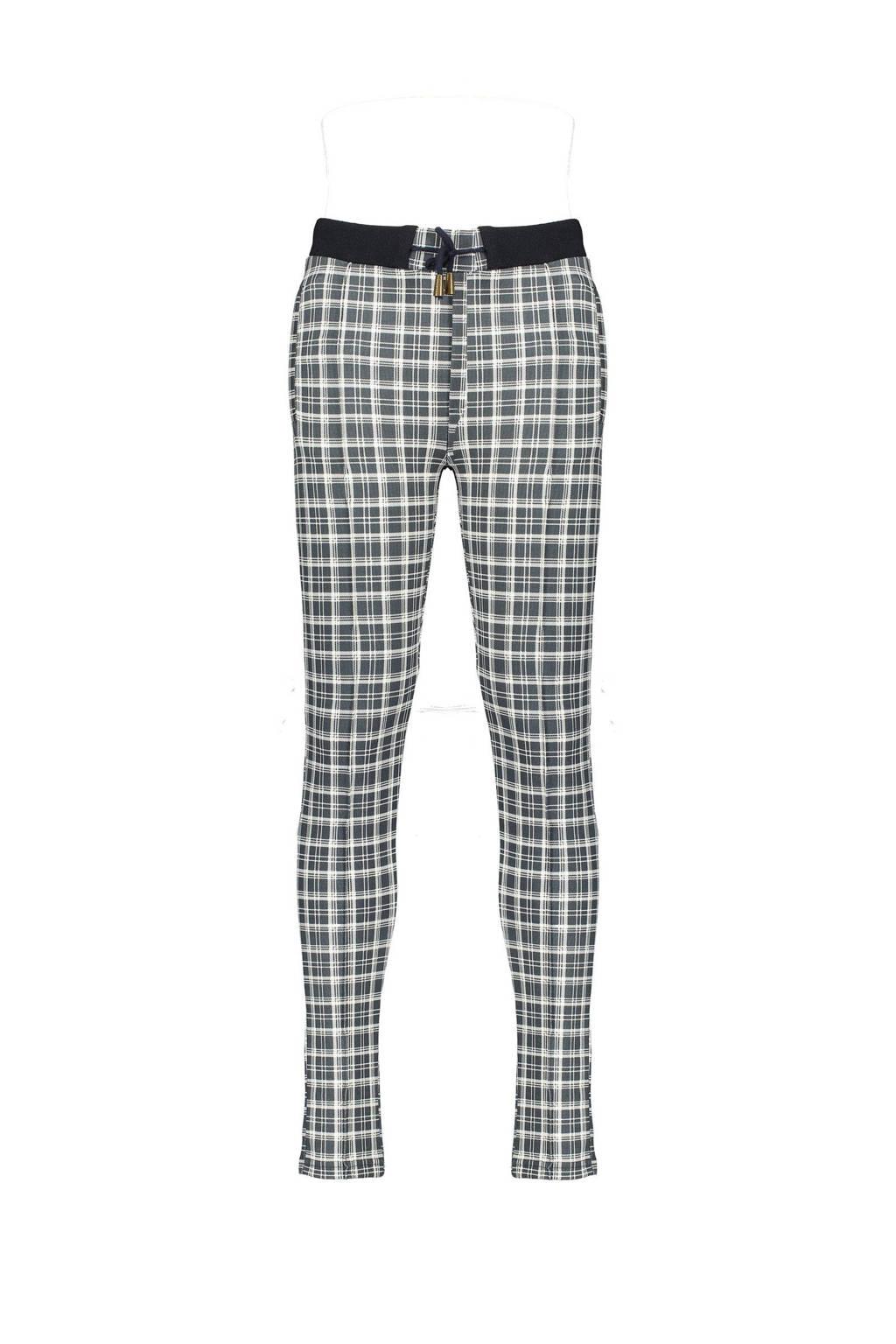 NoBell' geruite tapered fit broek Secler antraciet/wit/zwart, Antraciet/wit/zwart