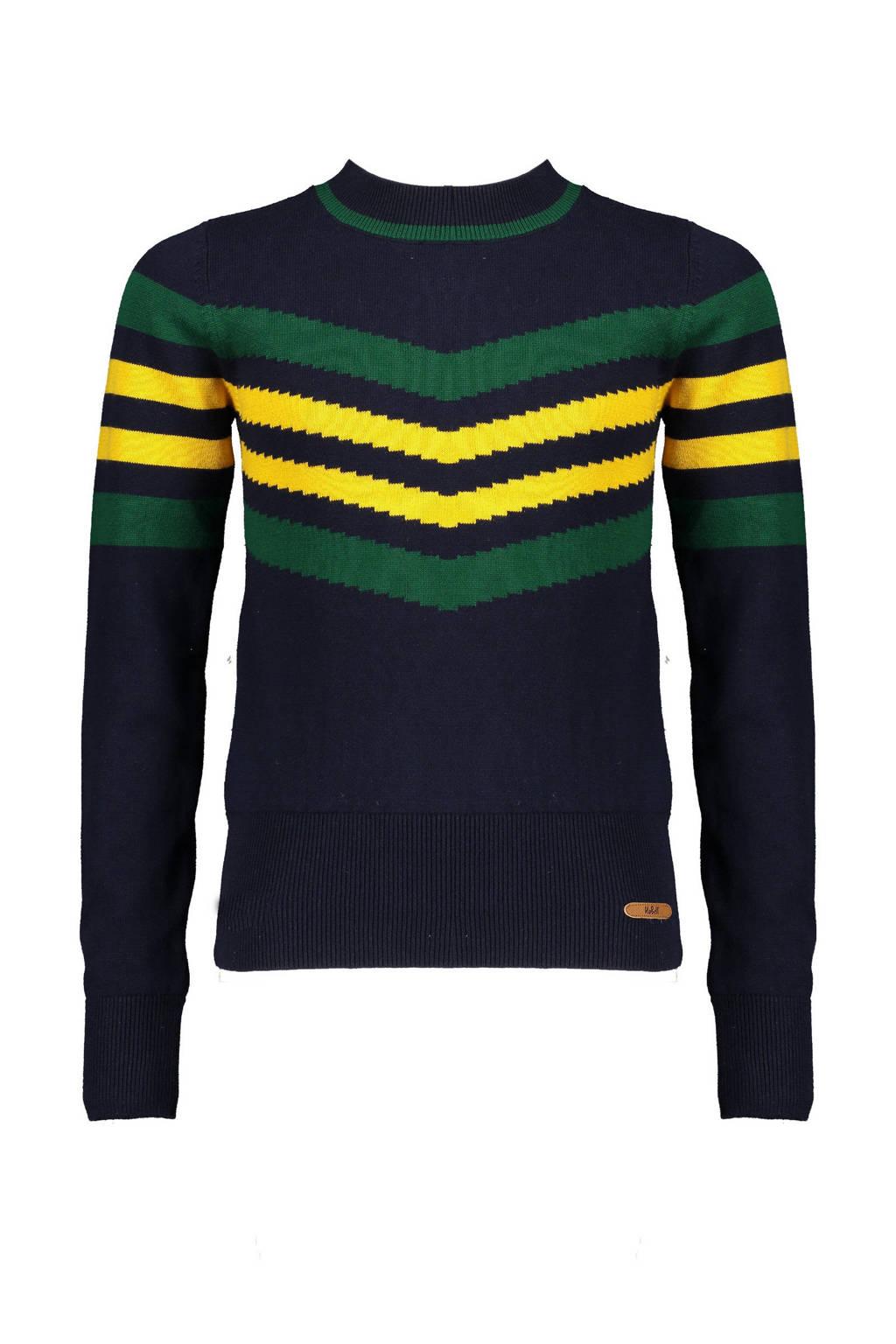 NoBell' gestreepte fijngebreide trui Kasia donkerblauw/groen/geel, Donkerblauw/groen/geel