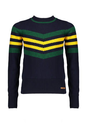 gestreepte fijngebreide trui Kasia donkerblauw/groen/geel