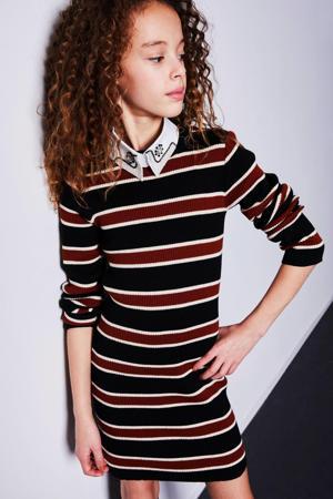 gestreepte ribgebreide jurk Marin zwart/ecru/bruin