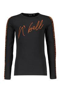 NoBell' longsleeve Kus met contrastbies en borduursels zwart/donker oranje/bruin, Zwart/donker oranje/bruin