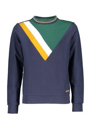 gestreepte trui Kane donkerblauw/geel/groen