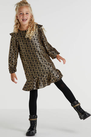 jurk Tasha met all over print en ruches zwart/goud