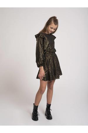 rok Tasha met all over print en plooien zwart/goud