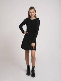 NIK&NIK jurk Jelina met ruches zwart, Zwart