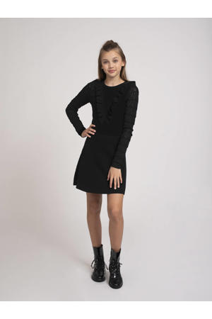 jurk Jelina met ruches zwart