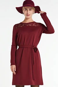 anytime jurk met kant wijnrood, Wijnrood
