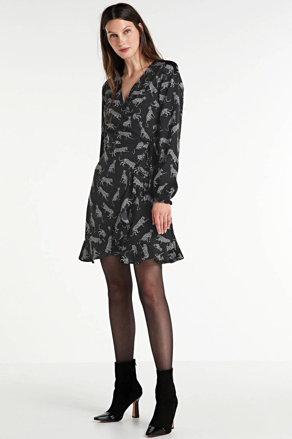 anytime wikkellook jurk met panterprint zwart, Zwart/wit