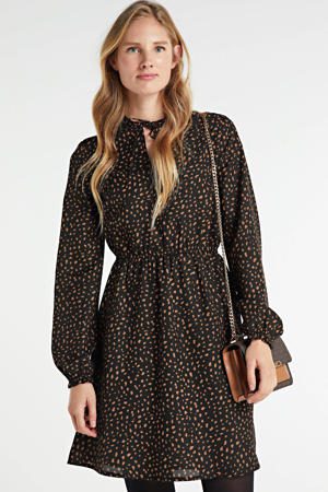 A-lijn jurk met all over print zwart