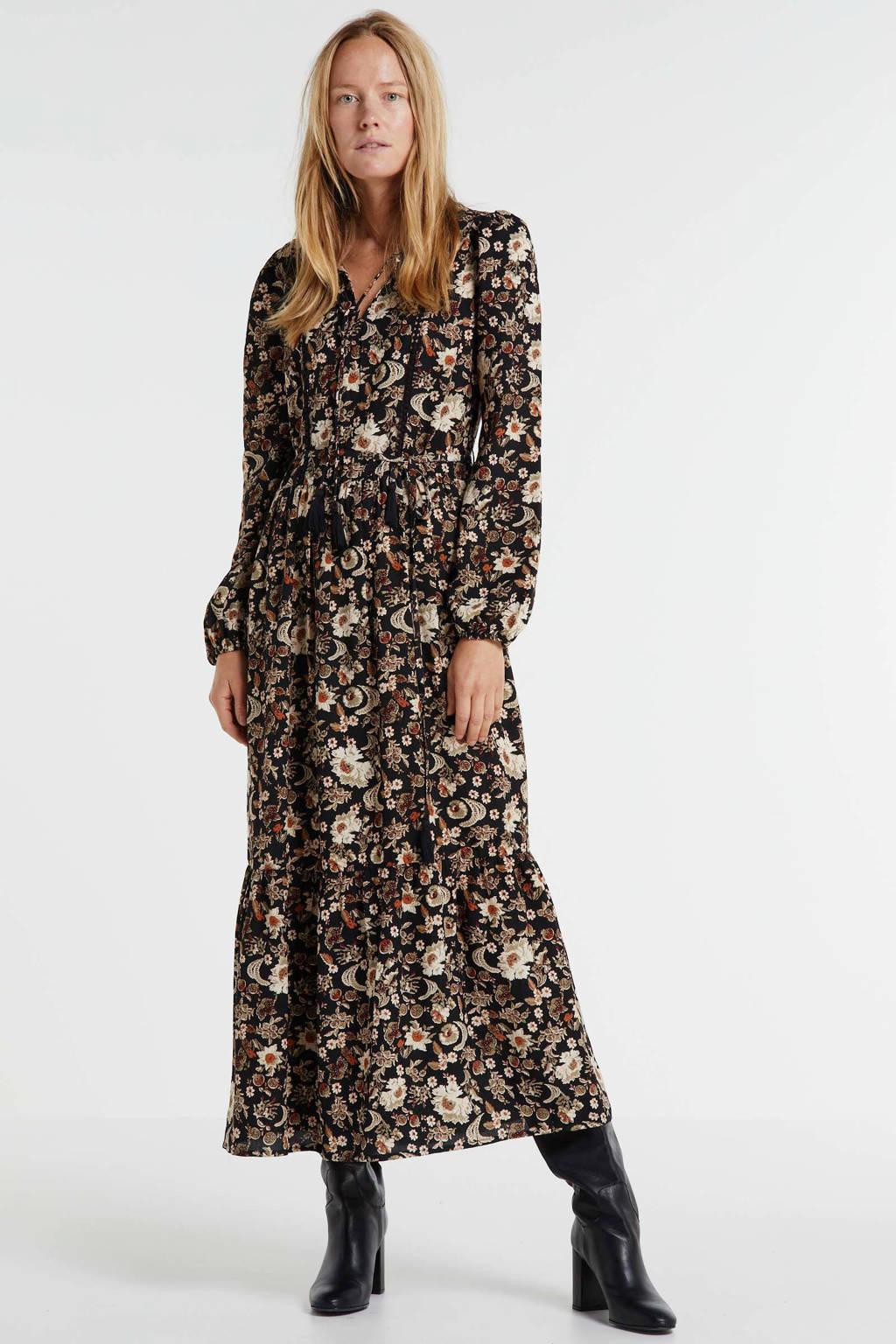 anytime maxi jurk met bloemenprint zwart, Zwart/groen/rood