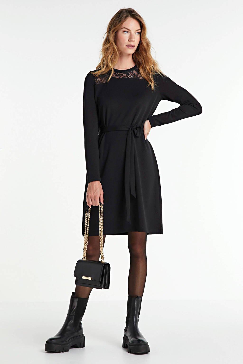 anytime jurk met kant zwart, Zwart