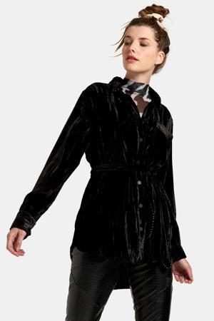 blouse met sierstenen zwart